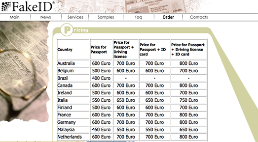 numero della carta del passaporto su una patente di guida ...