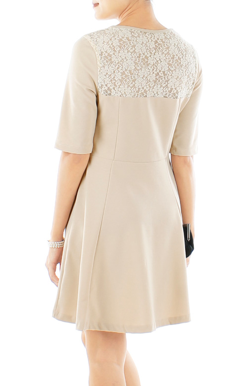 Ivory Destiny Lace Flare Dress with Sleeves