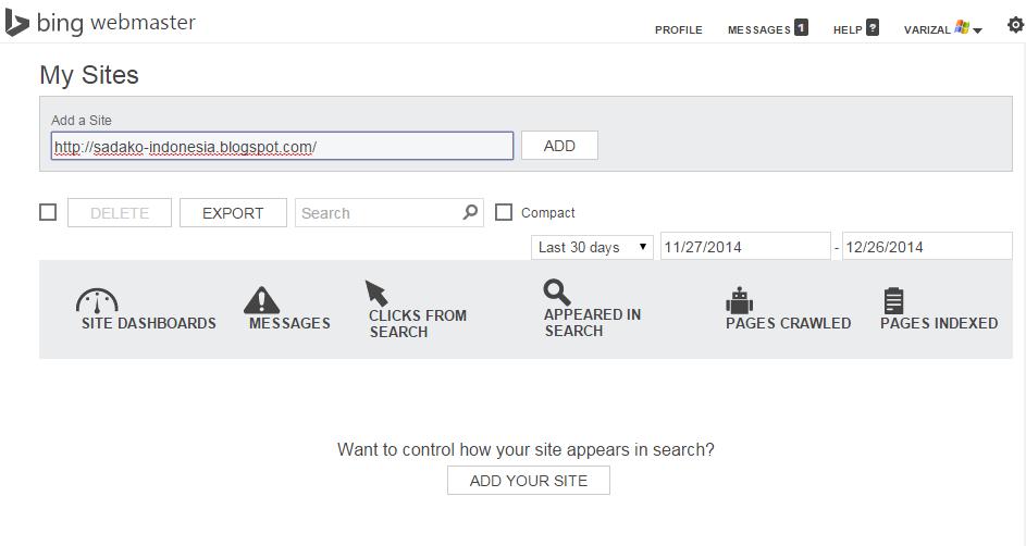 Langkah-langkah mendaftarkan situs di Bing Webmaster Tools
