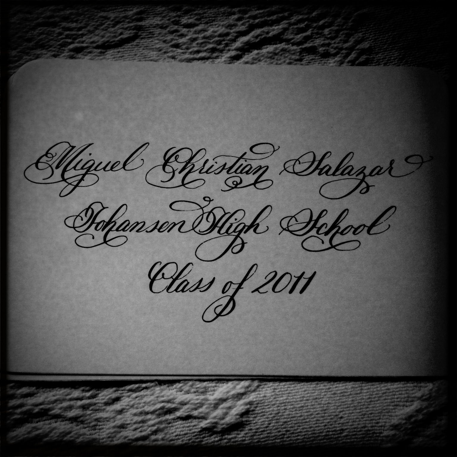 Calligraphy High School Graduation Announcements Blue Badger