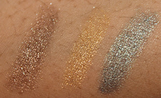 Moon River swatch, Cool Gold swatch, Jade Shore swatch