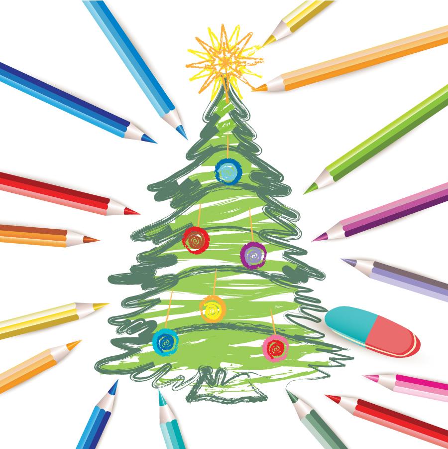 手書きのクリスマスツリー decorated christmas tree イラスト素材