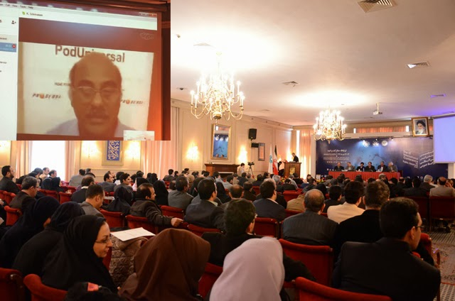 10th International PR Conference at Iran 13th Jan 2014 - (Inset) Prime Point Srinivasan addressing through skype