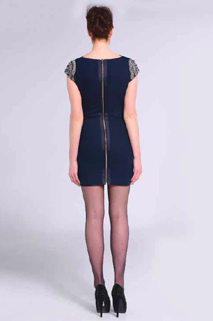 Naomi Tsukishima Navy Beaded Cocktail Dress Back