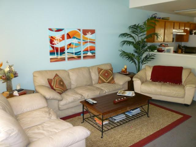 blue red orange living room