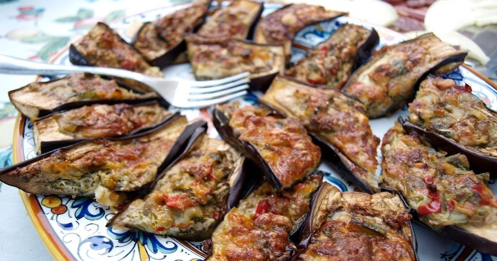 Stuffed Eggplant: Bake until golden & bubbly...
