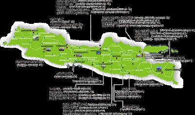 Peta Rute Jalur Kereta Api Indonesia (Pulau Jawa)