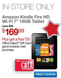 Office Depot: Amazon Kindle Fire Just $169.99 + $20 Office Depot Gift Card