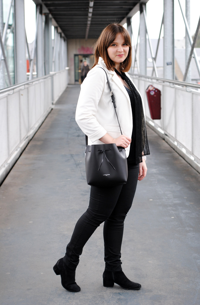 white blazer all black outfit