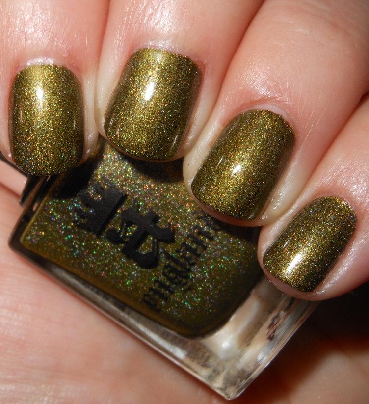 a-england, green, shimmer, nail polish