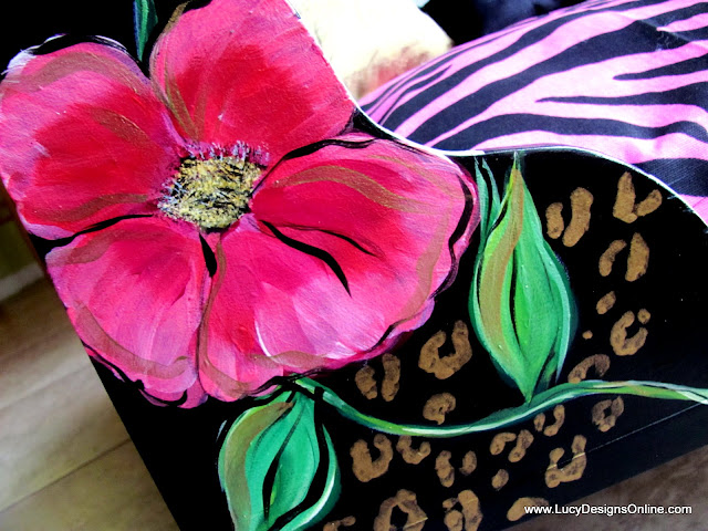 hand painted pink flowers and vines on dog bed with animal print