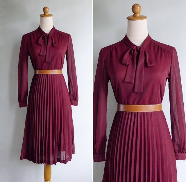 vintage 70's maroon red pleated dress
