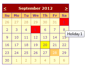 Set Holidays or Note on particular date in asp calendar control