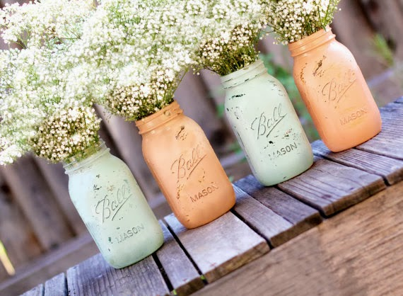 I Offer The Peach And Teal Mason Jar Invitations With Linen Or Cardboard Backgrounds Kraft Brown Background Gives It A Nice Rustic Feel