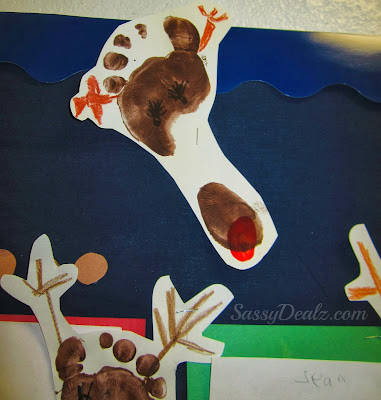 footprint reindeer for christmas bulletin board