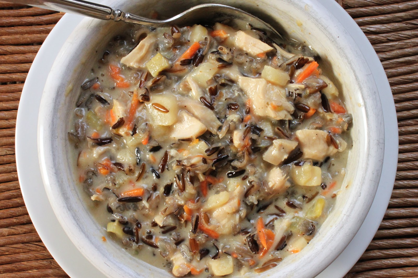 Creamy roast turkey wild rice soup