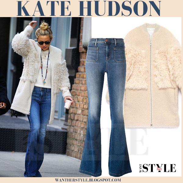 Kate Hudson in cream shearling loeffler randall coat and flared j brand jeans what she wore streetstyle