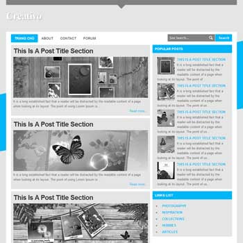 Creativo blog template. download blogger template gray color background