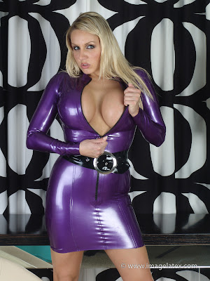 Busty Blonde Hotty in Tight Purple Latex Dress