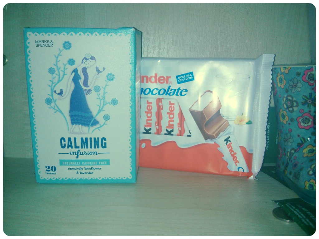 marks and spencer's calming infusion, chamomile tea, kinder chocolate