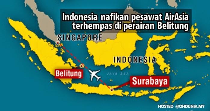 Kerajaan Indonesia nafi pesawat QZ8501 terhempas di Belitung Timur