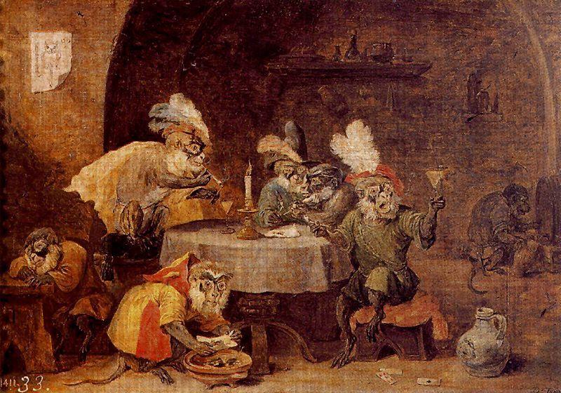 Monos fumadores y bebedores - David Teniers
