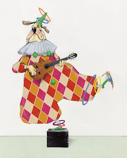 illustration by robert wagt of a dog juggling at the circus
