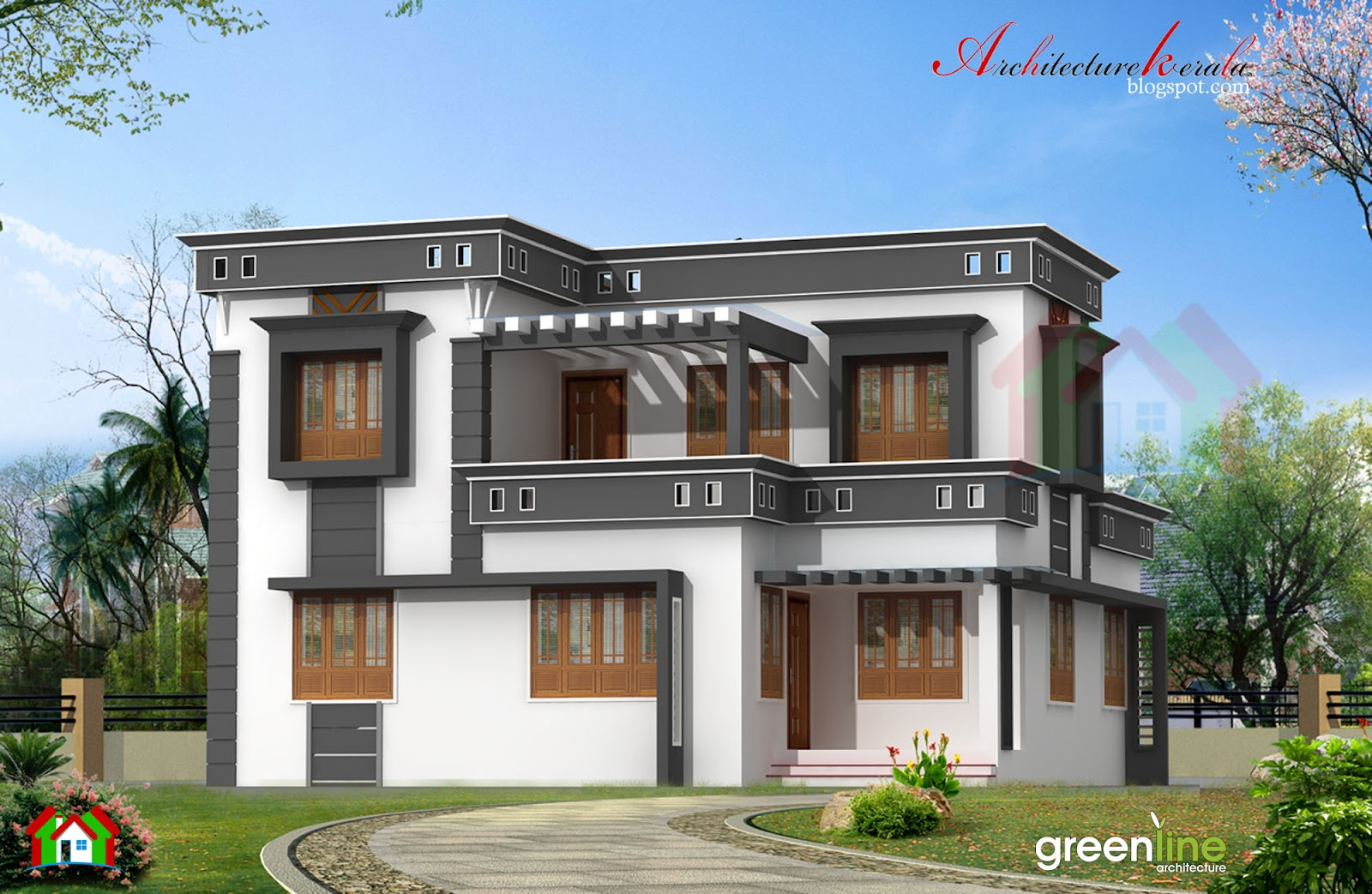 Modern style Kerala home plan in 1760 sq ft,