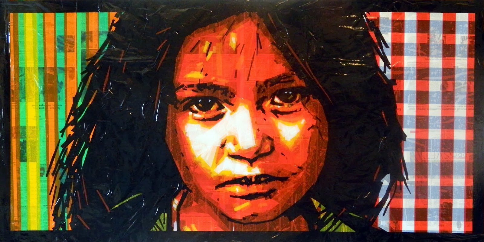 russian pop street tape art duct portrait child