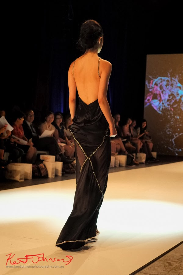 Stephanie McGuigan; gown from behind - New Byzantium : Raffles Graduate Fashion Parade 2013 - Photography by Kent Johnson.