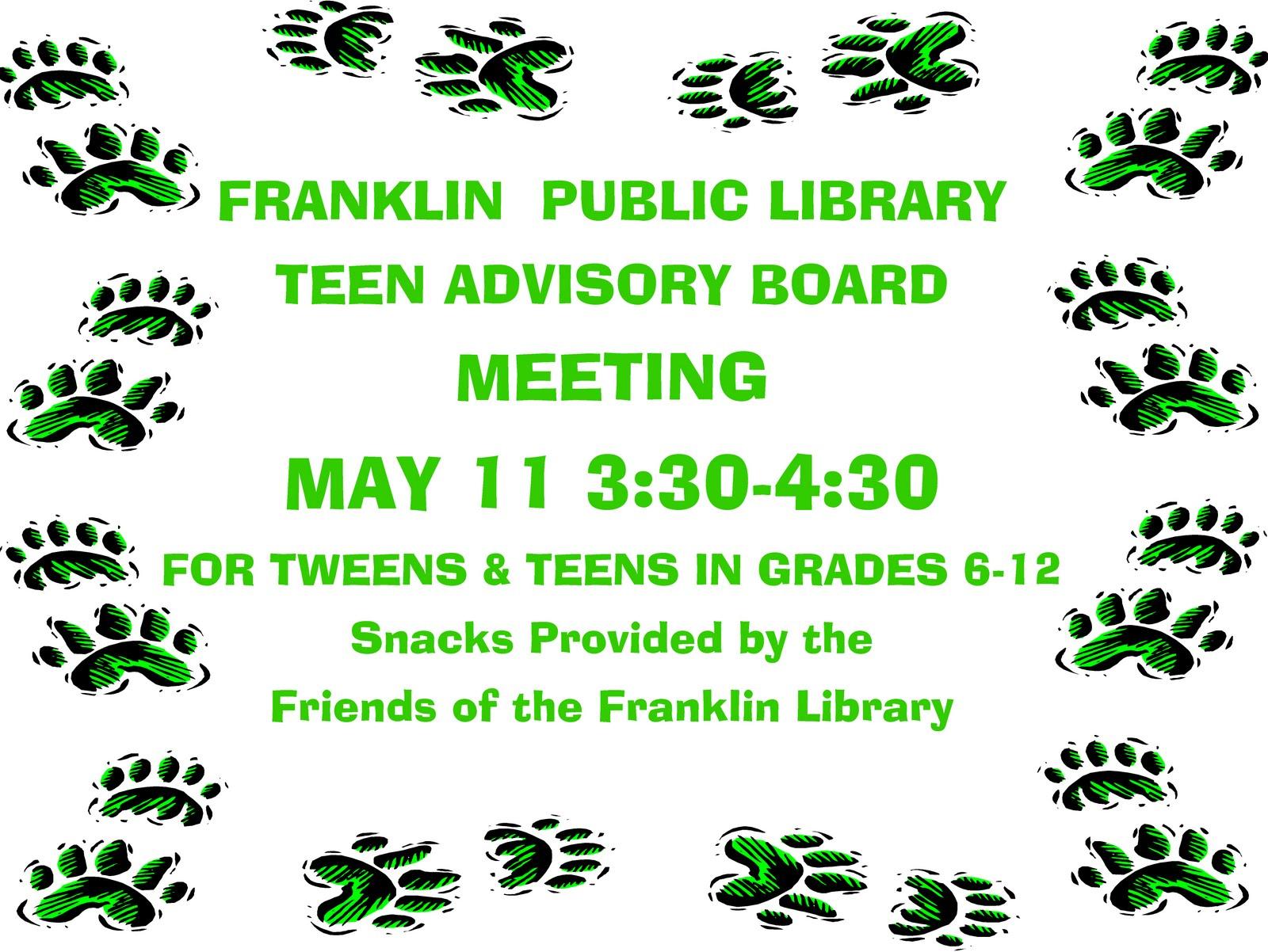 Library teen advisory board