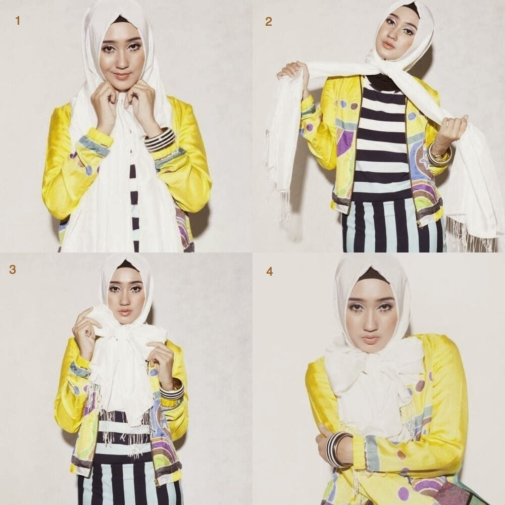 25 Gambar Menarik Tutorial Hijab Pashmina Oki Biking Ngakak