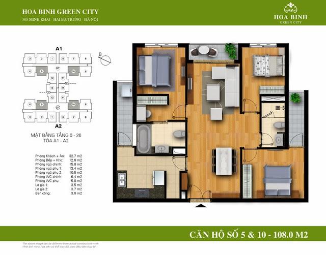chung cư Hòa Bình Green City Căn hộ số 5 , 10 dt 108m2