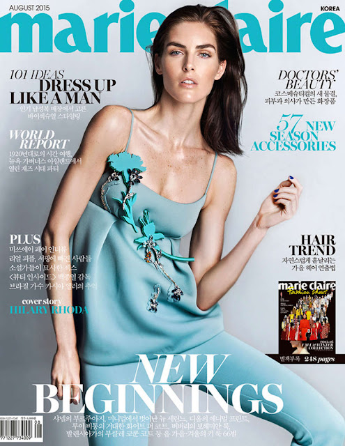 Model @ Hilary Rhoda for Marie Claire Korea, August 2015