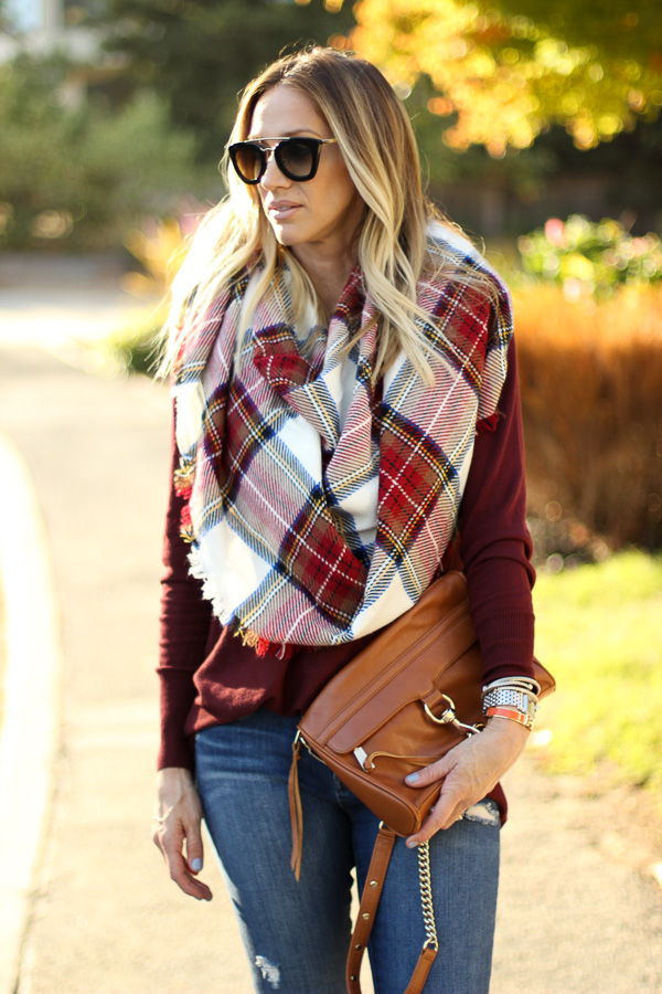 red plaid blanket scarf burgundy tunic