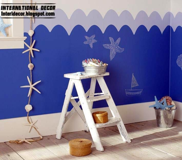 blue color scheme for kids, children room in marine style