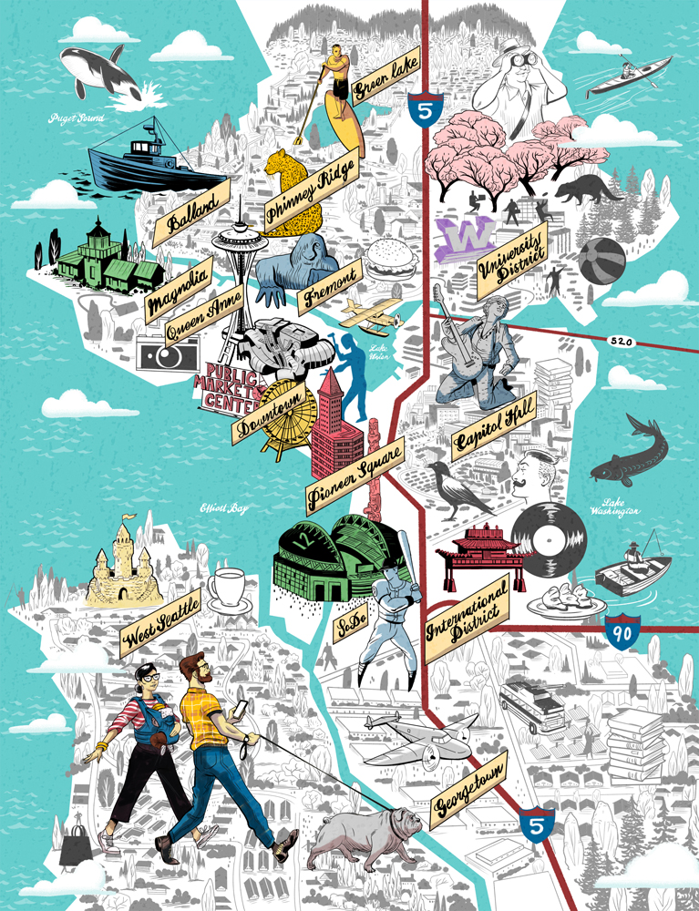 Joseph Laney Illustration Illustrated map of Seattle