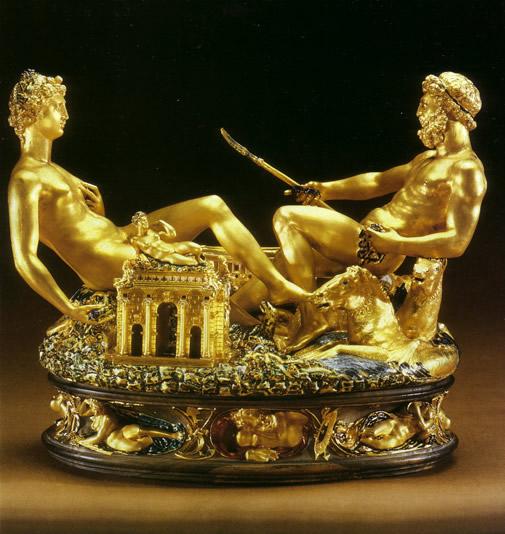 Arti decorative... Cellini+-+Saliera+di+Francesco+I+(Vienna,+Kunsthistorisches+Museum)