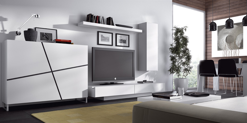 Muebles salon blancos for Muebles de salon lacados