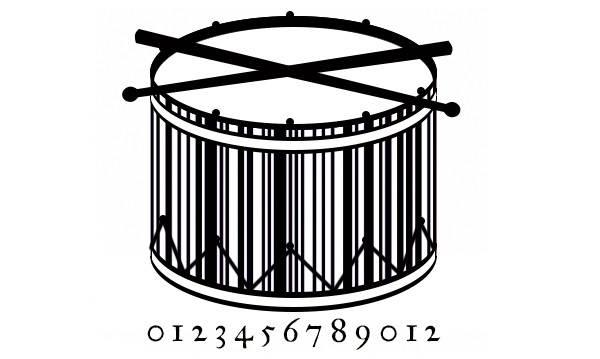 barcodes kreatif bentuk drum