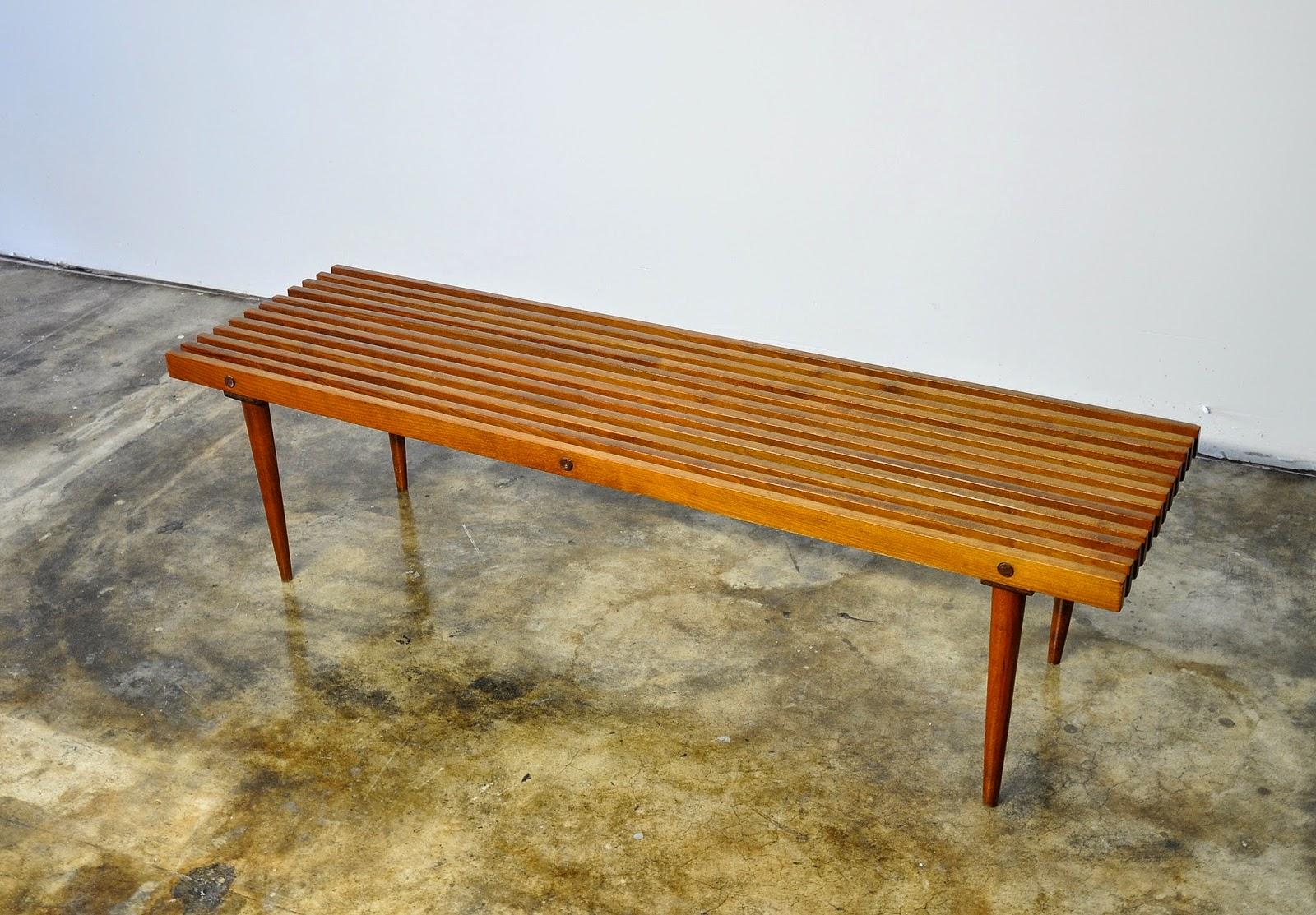 Mid Century Modern Slat Bench Part - 25: 1950s - 1960s. Long Solid Walnut Slat Bench