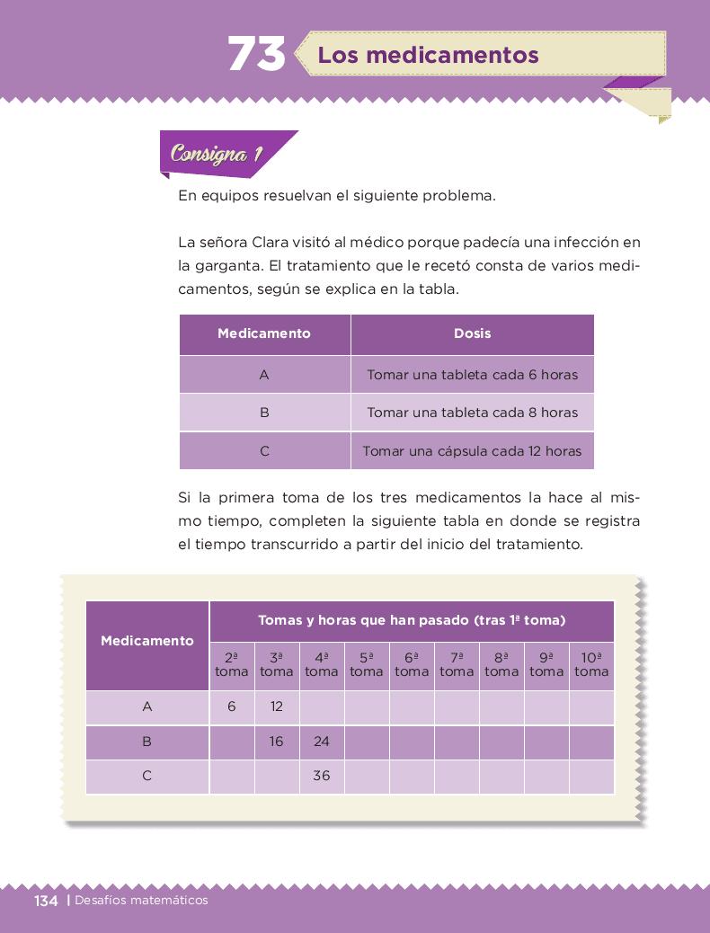 Los medicamentos - Desafíos matemáticos 6to Bloque 5to 2014-2015