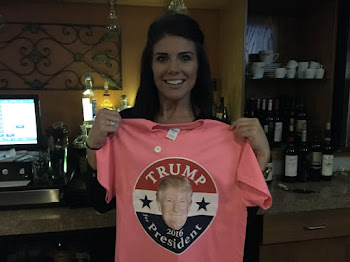 Caitlyn at Petes with Trump Shirt