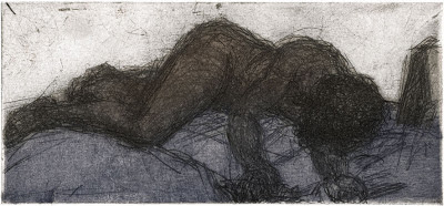 Maja-Helen Feustel: Liegender, Kaltnadelradierung, 2013