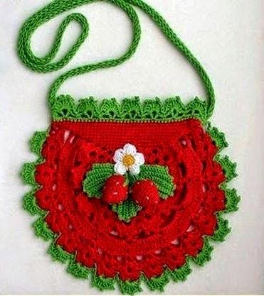 croche com receita bolsa menina morangos flores folhas pega-panelas imaginação receitas e graficos