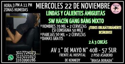 MIERCOLES 22 DE NOVIEMBRE DE 3 PM A 11 PM HERMOSA AMIGUITAS SWINGER