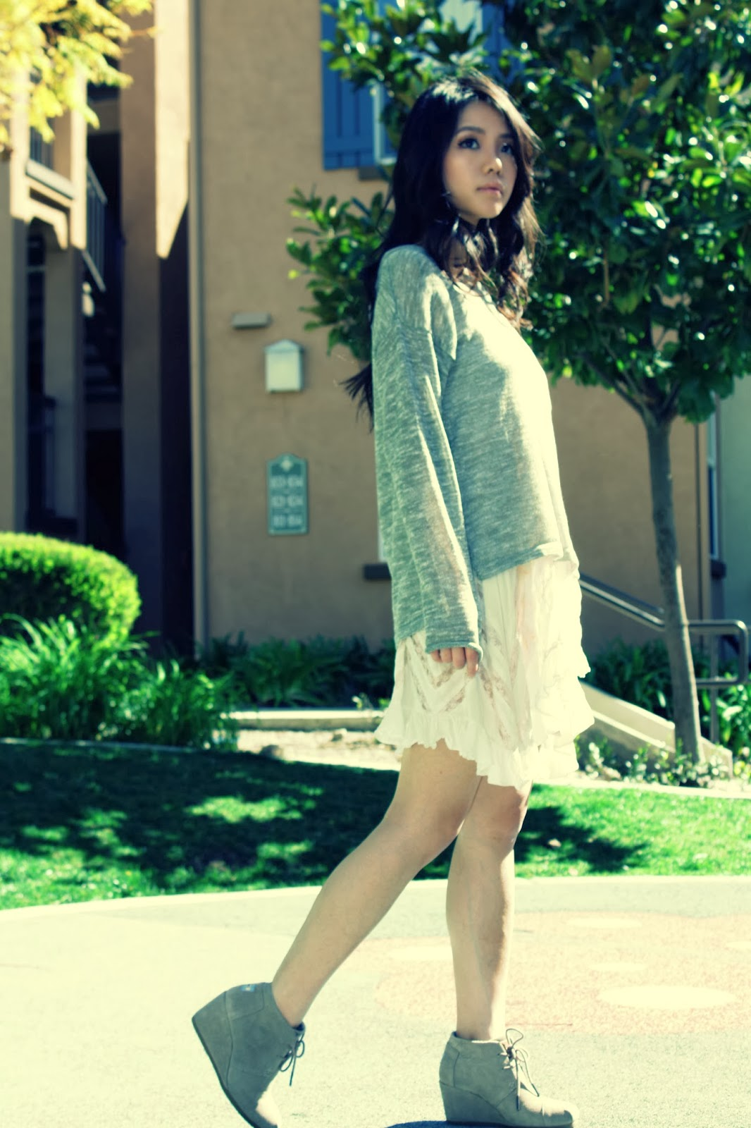 free people lace trim trapeze tunic dress, toms desert bootie