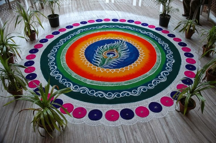 Rangoli Designs and Patterns with Lamps for Diwali 17