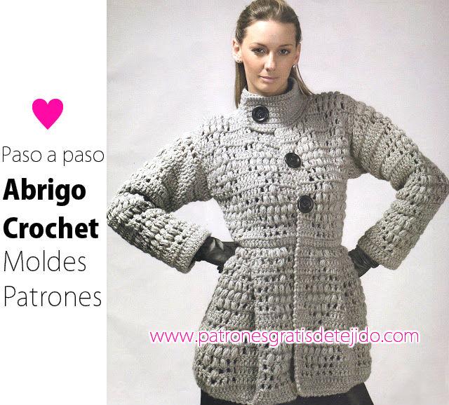 Abrigo de mujer tejido al crochet con paso a paso y moldes