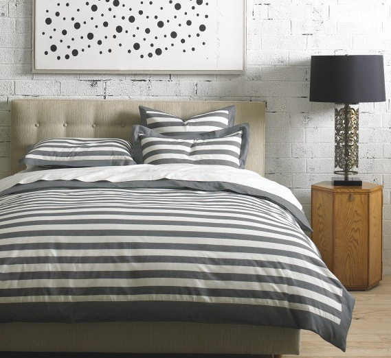 GRAPHIC STRIPE INK DUVET SET from Dwell Studio